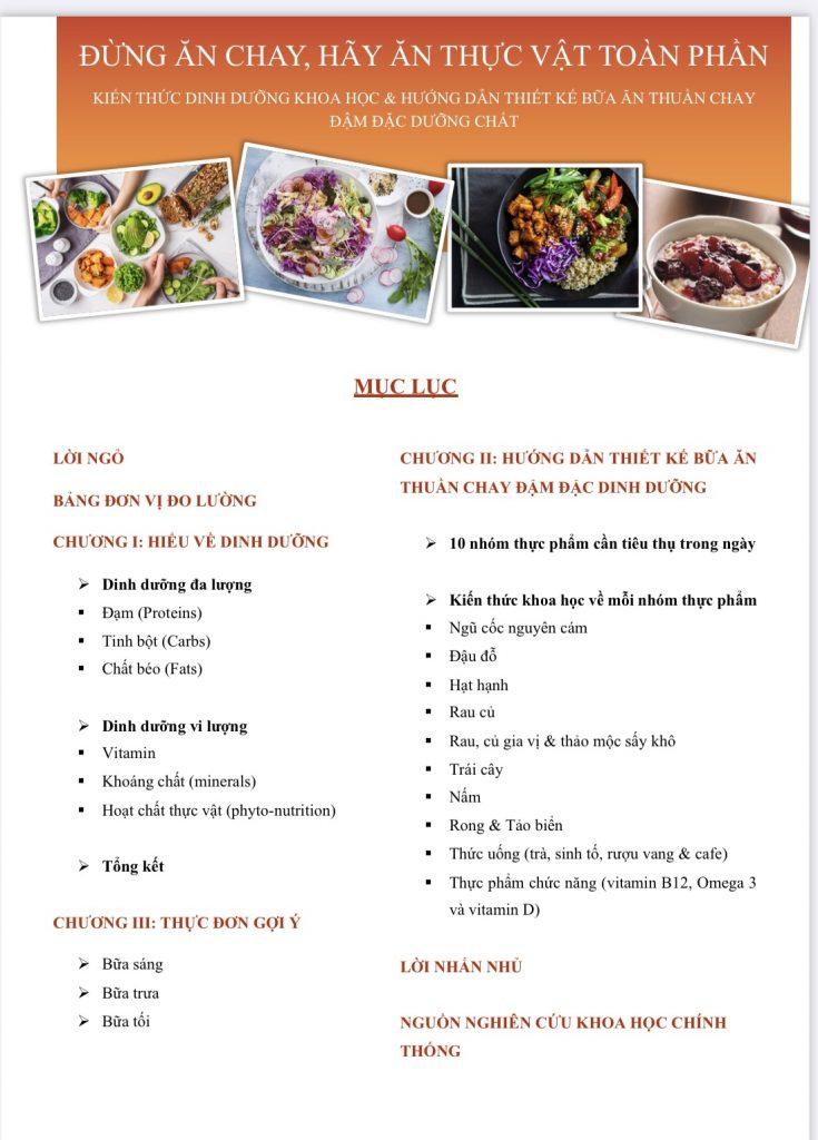 E-book đừng ăn chay cung cấp những kiến thức dinh dưỡng khoa học và hướng dẫn chi tiết cách thiết kế bữa ăn chay đậm đặc dưỡng chất.