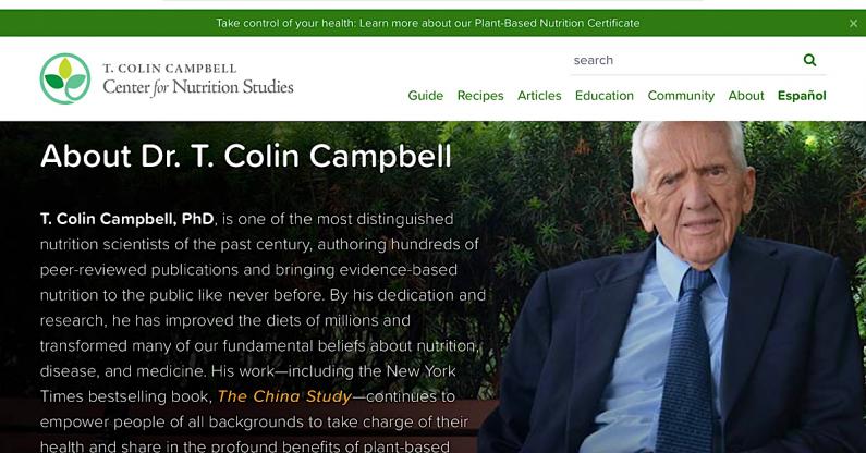 """Lời khuyên trong chuyên mục """"Bệnh mãn tính"""" được tham khảo rất nhiều từ bác sỹ T.Colin Campbell. Dưới đây là những thông tin về ông."""
